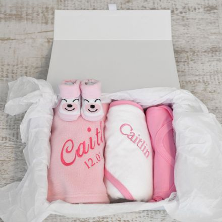 Personalised New Baby Girl Gift Hamper